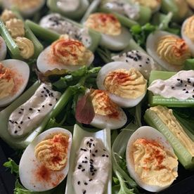 Shropshire Hills Catering devilled eggs and stuffed celery