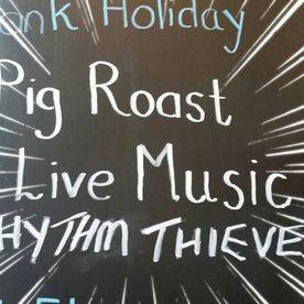 Shropshire Hills Catering pig roast to accompany live music at the Sun Inn Leintwardine