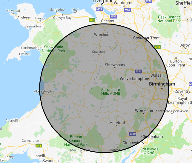 Shropshire Hills Catering Ltd Location Map - contact us for more information