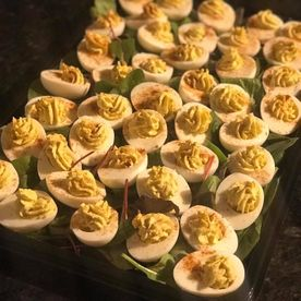 Shropshire Hills Catering 70's & 80's style buffet food devilled eggs