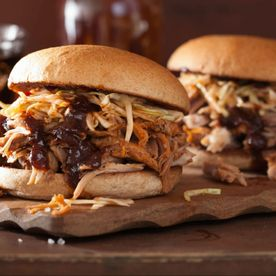 Shropshire Hills Catering pulled pork, barbecue sauce and coleslaw in white baps
