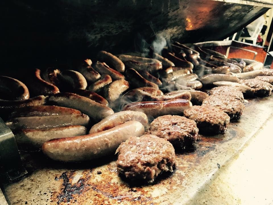 Shropshire Hills Catering homemade sausages and burgers from the grill