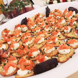 Shropshire Hills Catering Ltd our homemade salmon, cream cheese canapés